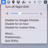 Night Shift機能のON/OFFをメニューバーから切り替えたり、アプリによって無効化する『Shifty』